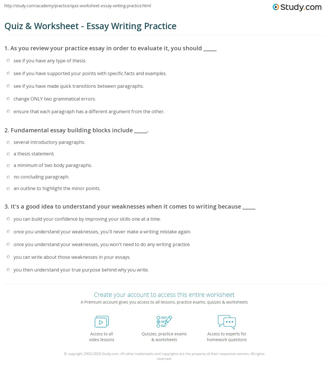 learn to write essays quiz