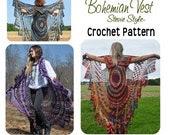 Bohemian Vest Crochet PATTERN Boho Style --- Stevie Nicks Style, Boho Shawl Cape Vest