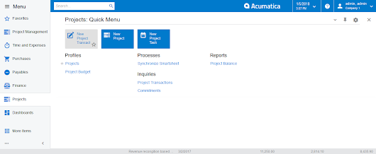 Acumatica 2017 R2 Interface modifications highlighted that continue to make Acumatica even more user friendly.