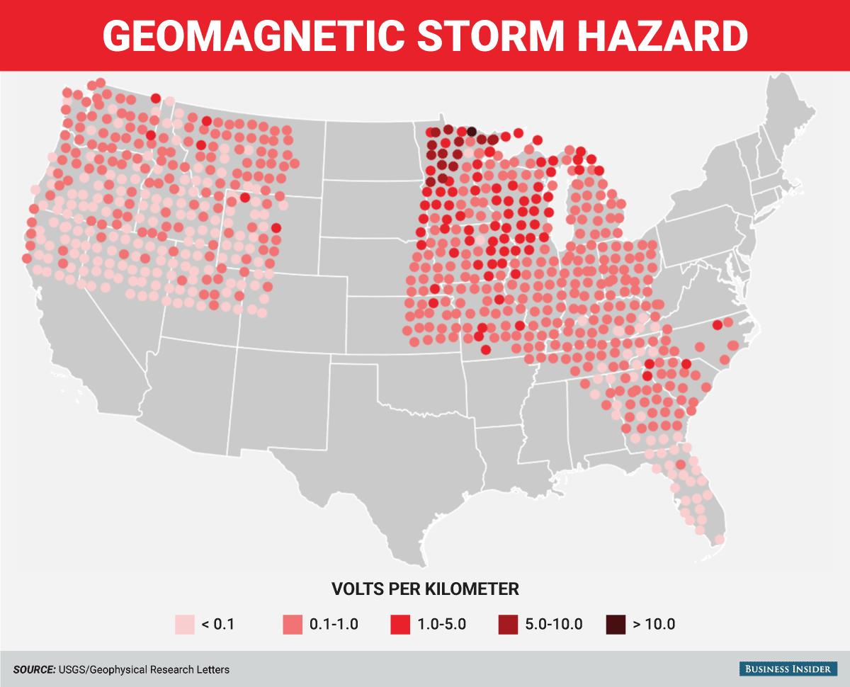 tormenta solar geomagnética inducción eléctrica mapa del peligro de la línea eléctrica