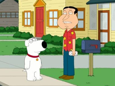 Brian Griffin tries to earn Quagmire's respect on FAMILY GUY.