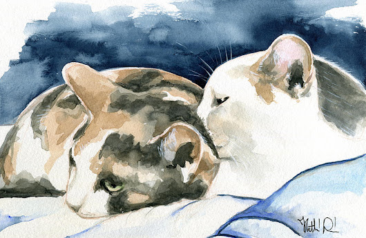 Friends Forever - Cat Painting by Dora Hathazi Mendes