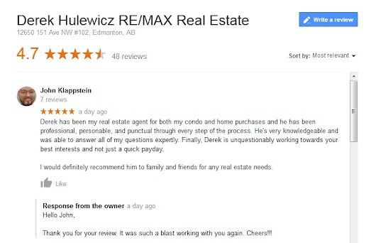 Google Business Review - Derek Hulewicz Remax