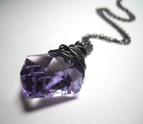 Lilac Lotus Swarovski Crystal Sterling Silver Necklace