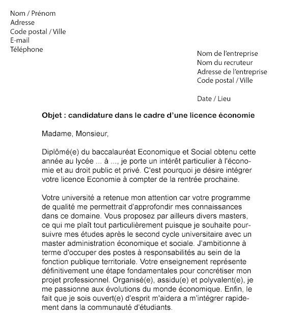 Lettre De Motivation Licence Sciences Humaines Et Sociales ...