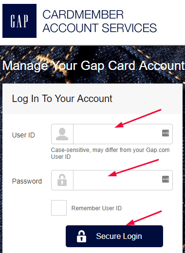 GAP Credit Card Login at www.synchronicredit.com Click Here