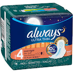 Always Ultra Thin Size 4 Overnight with FLexi-Wings Pads 14 ct Pack