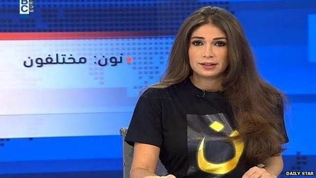 Newsreader Dima Sadeq on Lebanese TV wearing a T-shirt in solidarity with persecuted Iraqi Christians