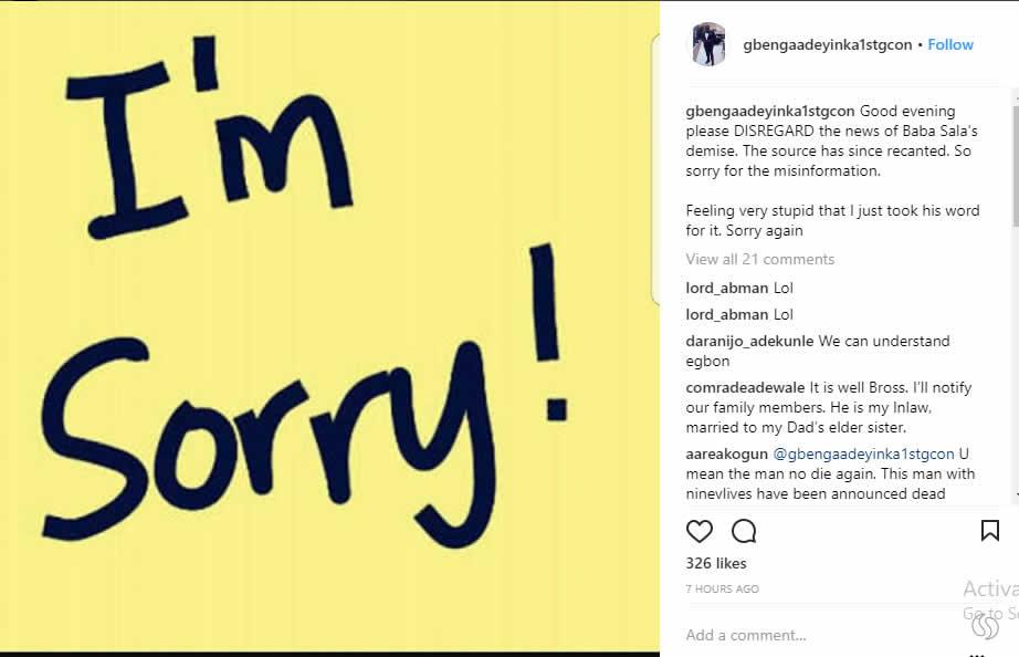 Gbenga Adeyinka apologises for starting Baba Sala death rumour