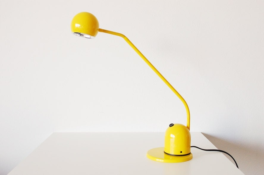 Vintage Bright Yellow Space Age Lamp from Germany. Eye-ball styled. Wortmann & Filz. Retro Mod. 1970s. 1980s.