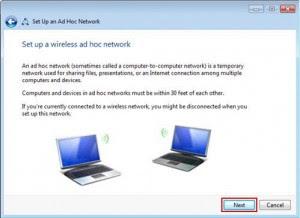 Wireless Setup in adhoc mode Process