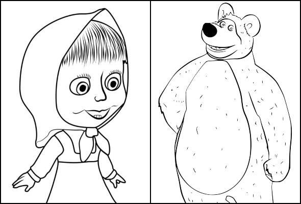 Desenhos de Masha e o Urso para colorir