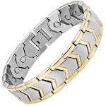 Powerful Magnetic Therapy Bracelet Gold and Silver Stainless Steel