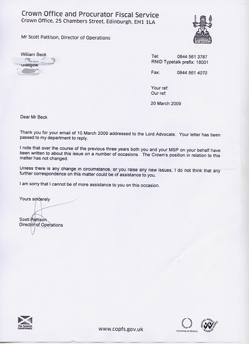 Crown Reply Disclosure 20th March 09