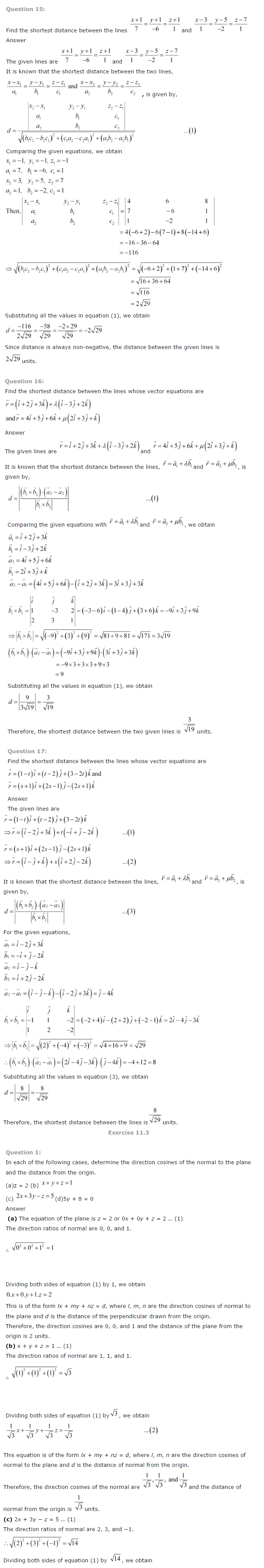 NCERT Solutions for Class 12 Maths Chapter 11 Three Dimensional Geometry ex 11.4