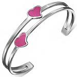 Stainless Steel Silver-Tone Pink Enamel Love Heart Open End Bangle Bracelet
