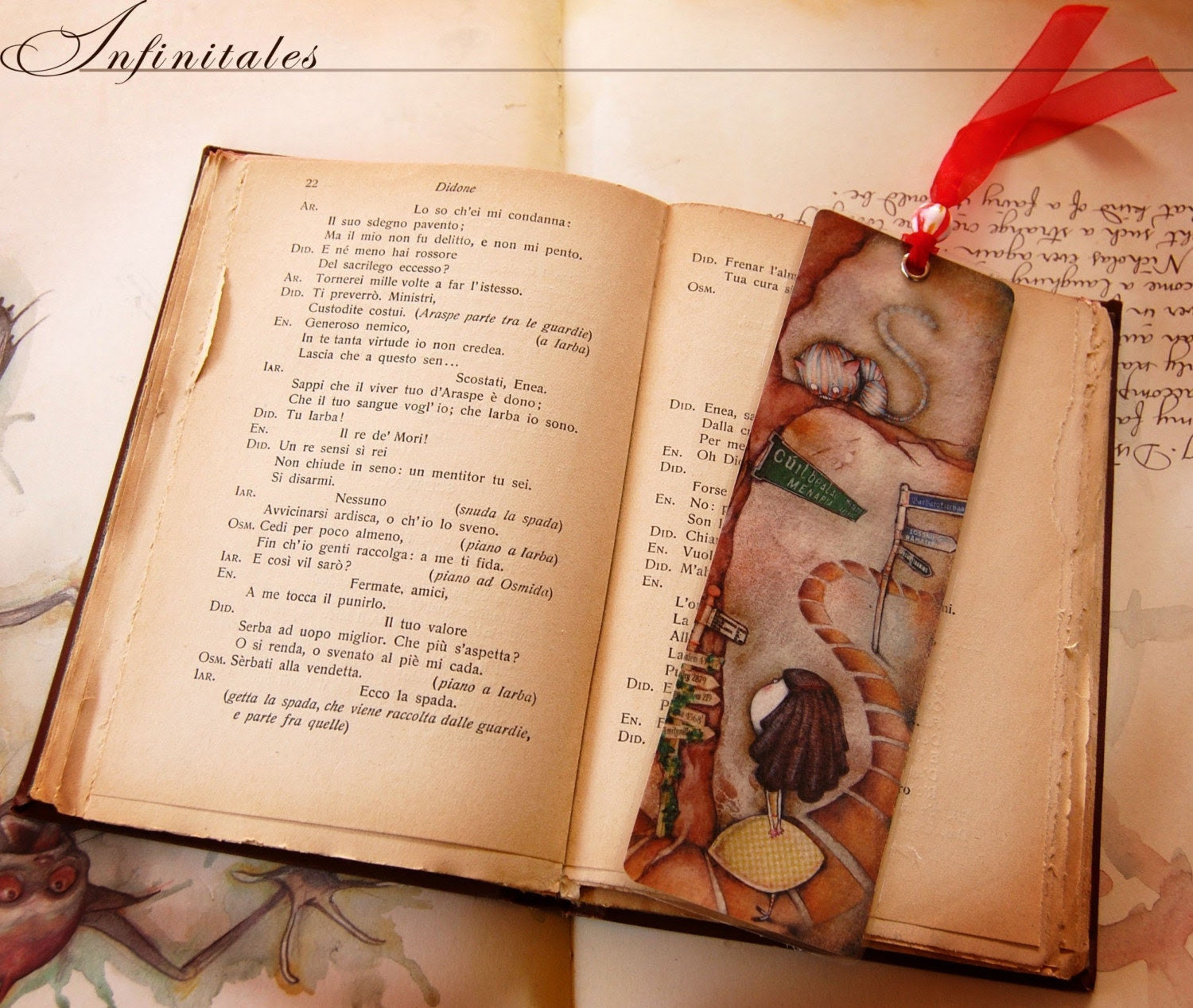 Alice and  the Cheshire Cat - Deluxe laminated bookmark