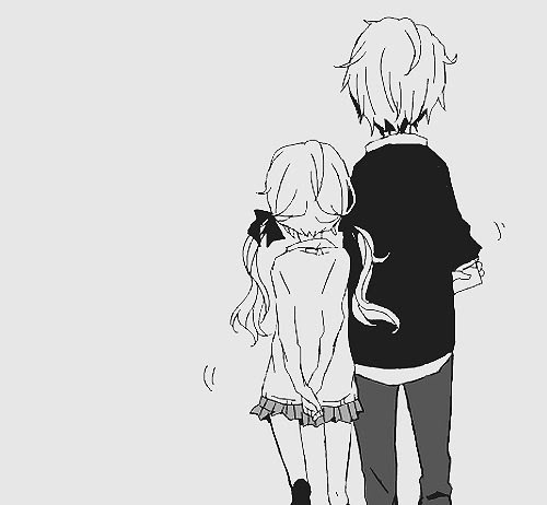 Wallpaper Anime Cute Couple Black And White