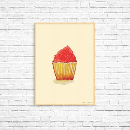 Art Print  Vintage Cupcake Illustrated by CandiesandPixels on Etsy