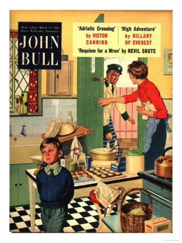 John Bull, Naughty Milkman, Women in Kitchen Magazine, UK, 1955