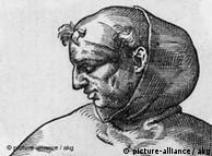 Albertus Magnus / Stimmer Albertus Magnus, eigentl. Albert Graf von Bollstaedt, scholastischer Gelehrter, Heiliger, Lauingen um 1200 - Koeln 15.11. 1280. - 'Albertus Magnus / Bischoff zu Regensburg. mort. 1280'. - Holzschnitt von Tobias Stimmer (1539- 1584).