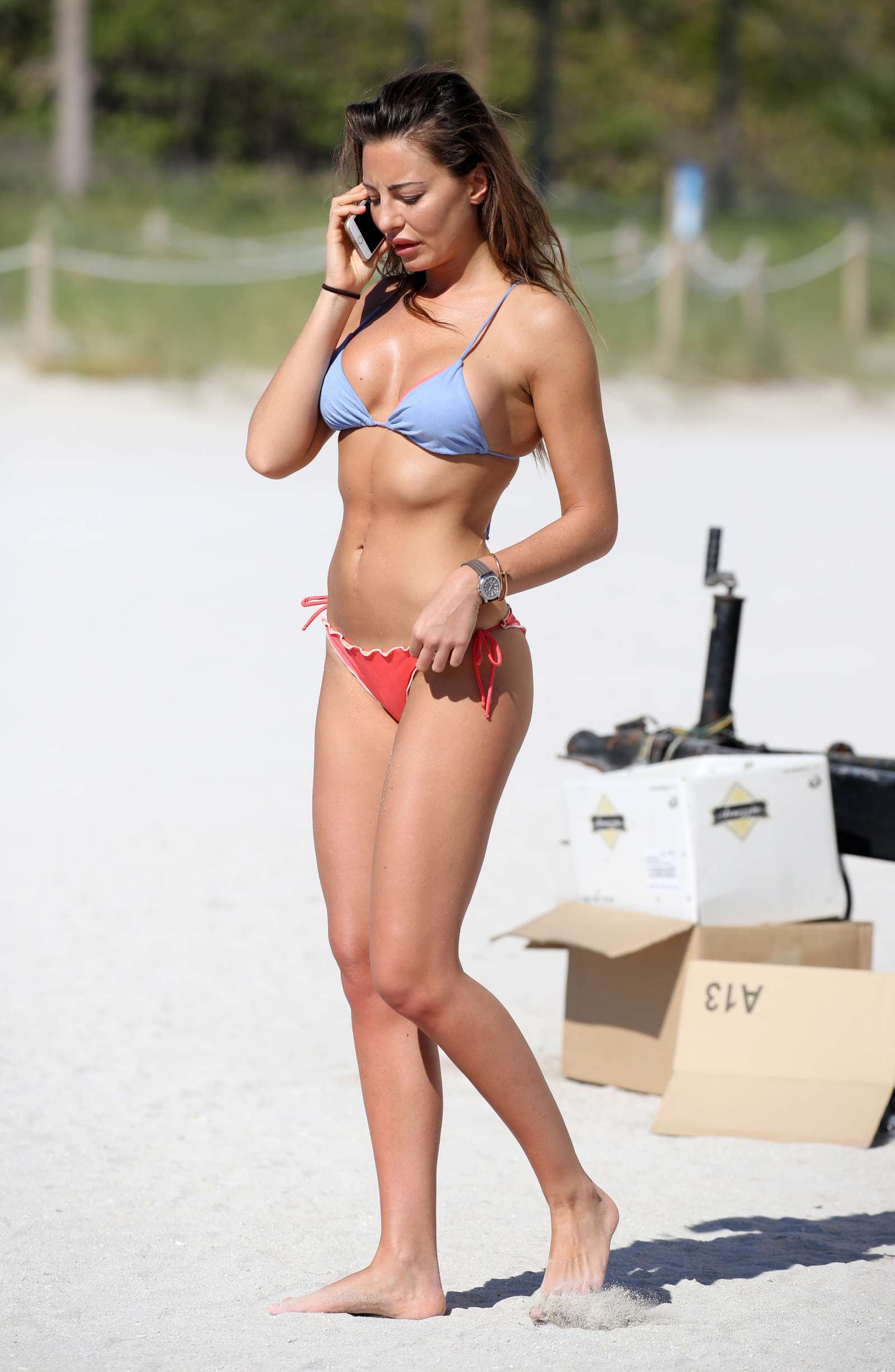 Alessia Tedeschi in Bikini on the beach in Miami