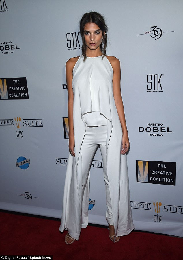 Stating her case: Emily Ratajkowski led a host of stars campaigning for the arts at The Night Before Dinner in Washington DC on Friday
