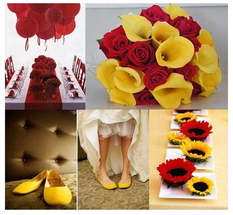 Red and yellow wedding decoration ? Weddings on the French