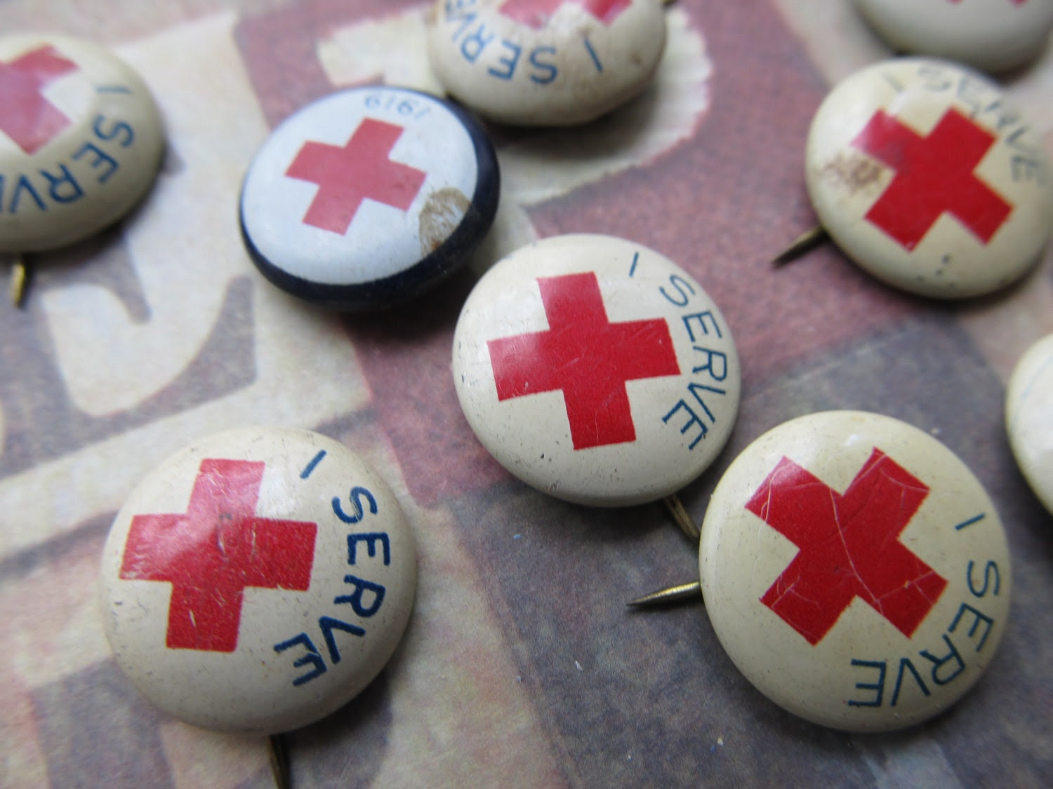 1 Vintage Red Cross Pin - CaityAshBadashery