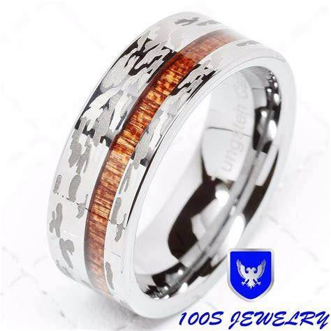 Mens Tungsten Ring Camo Army Hunting Wood Inlay Silver