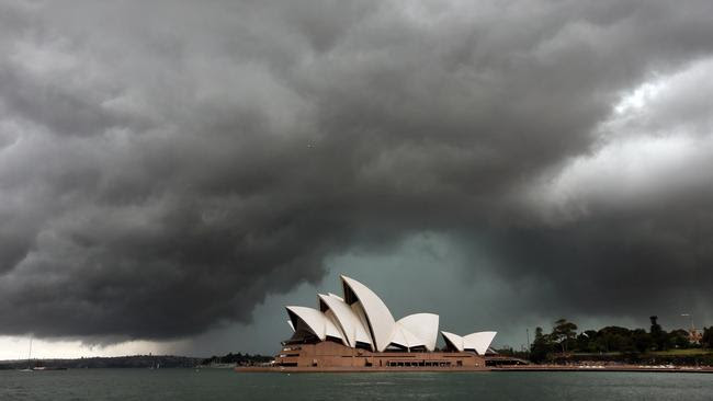 Pictured at The Rocks, a storm rolls through Sydney's Eastern Suburbs coast. Picture: Richard Dobson