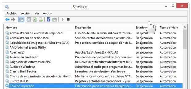 Panel para administrar los servicios en Windows