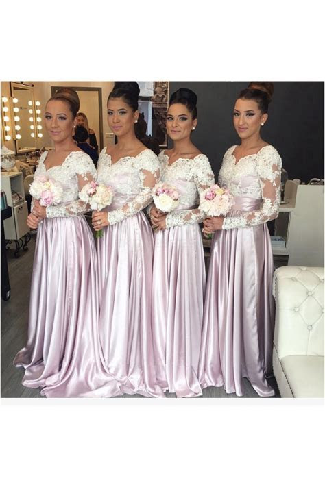 Long Sleeves Lace Wedding Guest Dresses Bridesmaid Dresses