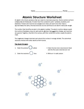 Atomic Structure Worksheet Physical Science