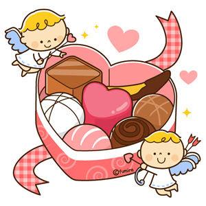 クリップアートバレンタインハート型のチョコレートと天使のイラスト
