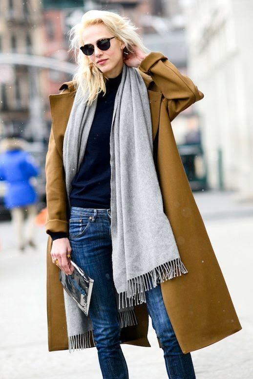 Le Fashion Blog Weekend Street Style Camel Coat And Jeans Oversized Scarf Sweater Slim Jeans Denim Via Elle