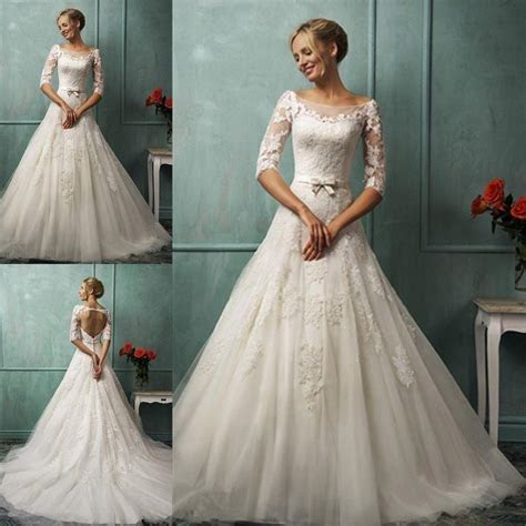 boat neck    sleeve wedding dress lace sexy