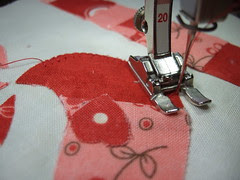 Blanket stitching around applique