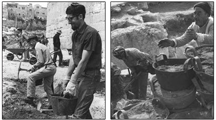 Left: Volunteers uncover the hidden treasures of Jerusalem at the foot of the Southern Wall, immediately after the Six-Day War. (Fritz Cohen, GPO) Right: Arab workers at the excavations of the Southern Wall. (Ya'acov Sa'ar, GPO)