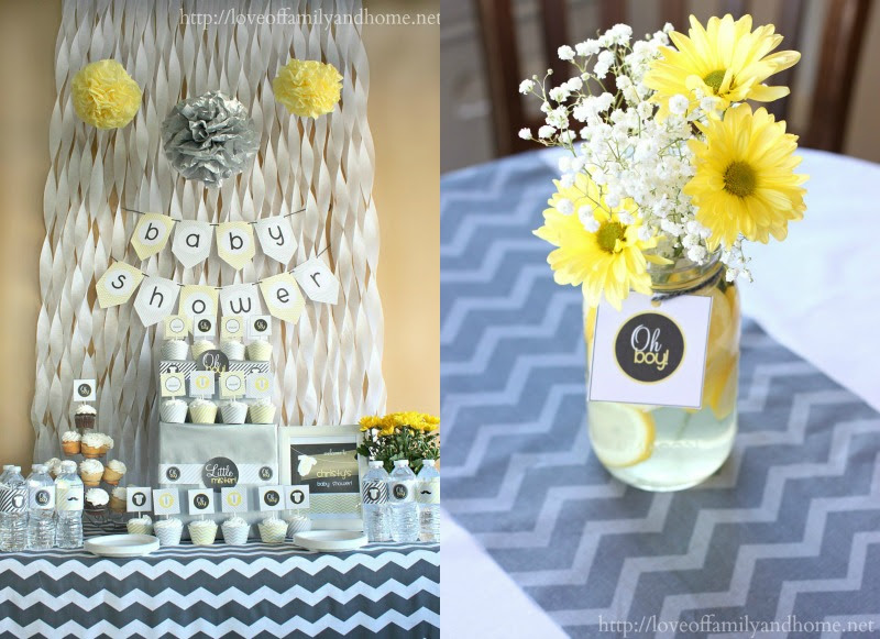 Gray Amp Yellow Baby Shower Decorating Ideas