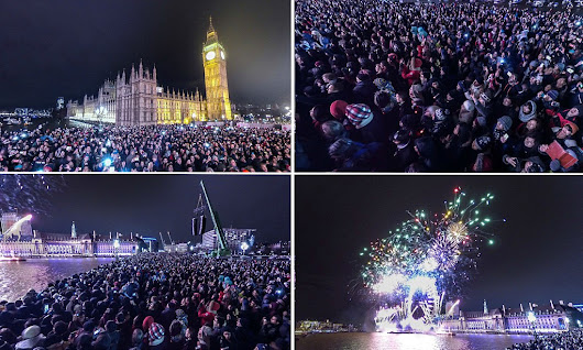 Incredible 360-degree image of London's stunning firework display lets you home in on thousands of New Year's Eve revellers at the stroke of midnight