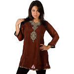 Brown-Anarkali Style Kurti with contrast colored patchwork and embroidery-Medium