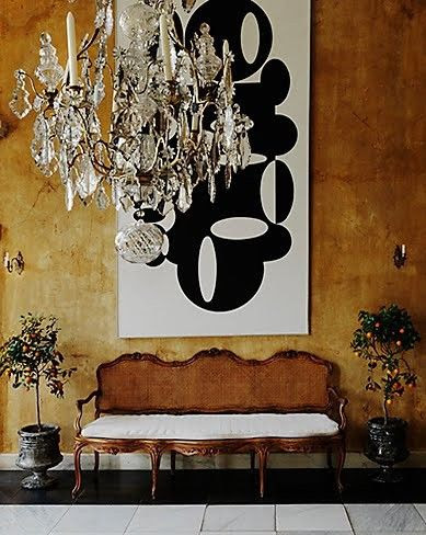 Beautiful juxtaposition of antique furniture with modern poppy art