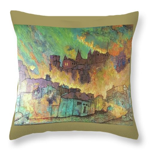 Village On Fire Throw Pillow
