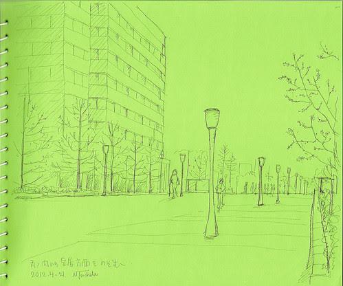 東京駅正面から皇居を望む at the direction of the Imperial Palace from the Tokyo Station front