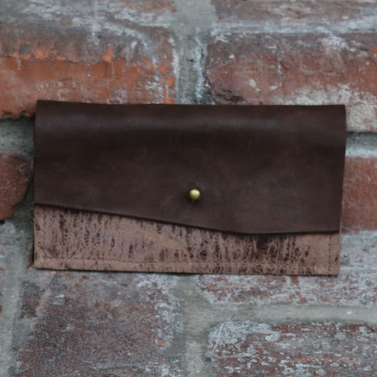 Natural Edge Flap Brown Leather with Brown Marbled Leather Wallet