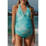 Teal Palms Crisscross Maternity Tankini Halter Top Sky Blue / (US 14-16)XL