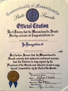 美国麻萨诸塞州参议院颁发的褒奖状