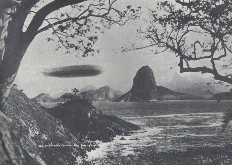 The Graf Zeppelin itself, flying over Brazil during its 1930 Pan-American Tour.