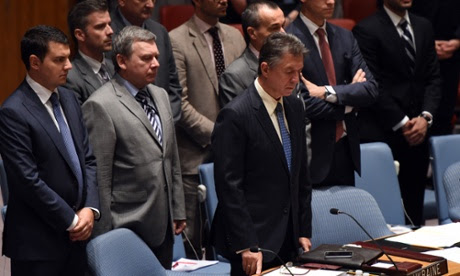 Ukraine's Ambassador to the United Nations Yuriy Sergeyev during a moment of silence.